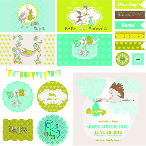 Cartoon Baby Shower Cards Design Vector Free Vector In Encapsulated