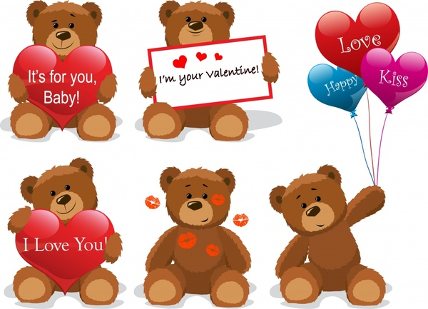 valentine design elements teddy bear heart balloons icons