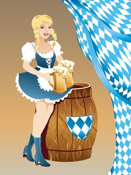 cartoon beer girl 03 vector