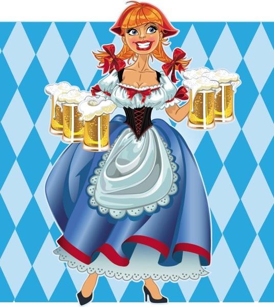 cartoon beer girl 04 vector