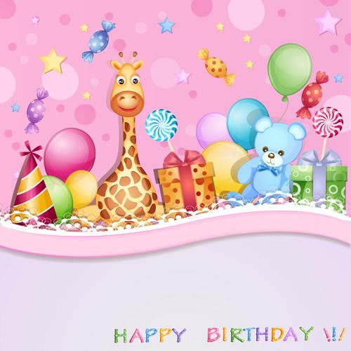 cartoon birthday cards design vector