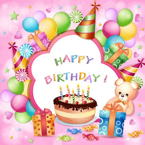 Cartoon Birthday Cards Design Vector Free 153MB