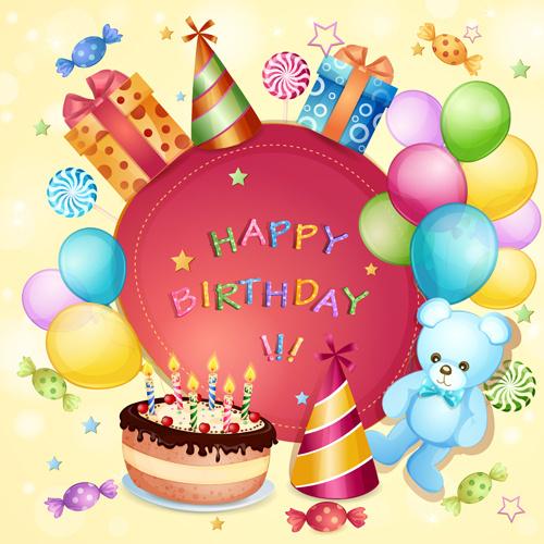 Cartoon Birthday Cards Design Vector Free Vector In Adobe
