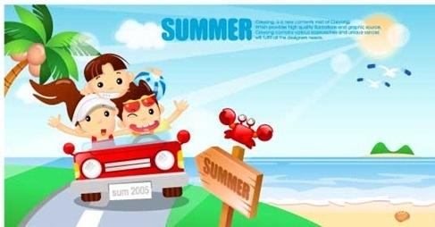 Cartoon boys and girls seaside resort Vector Graphics