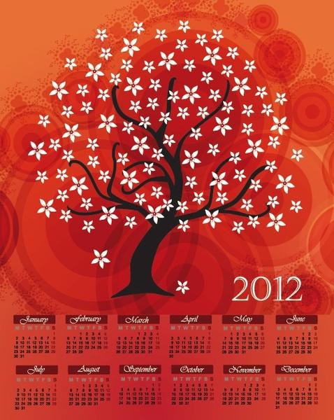 cartoon branches calendar 02 vector