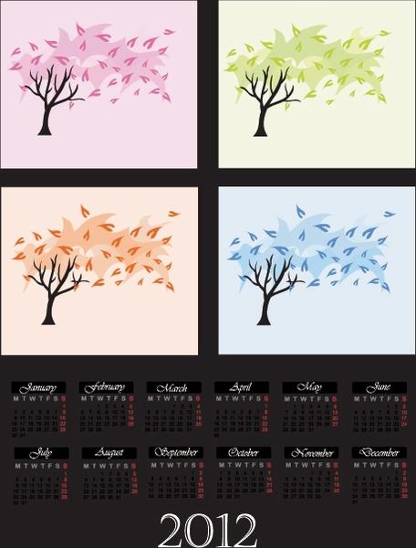 cartoon branches calendar 04 vector