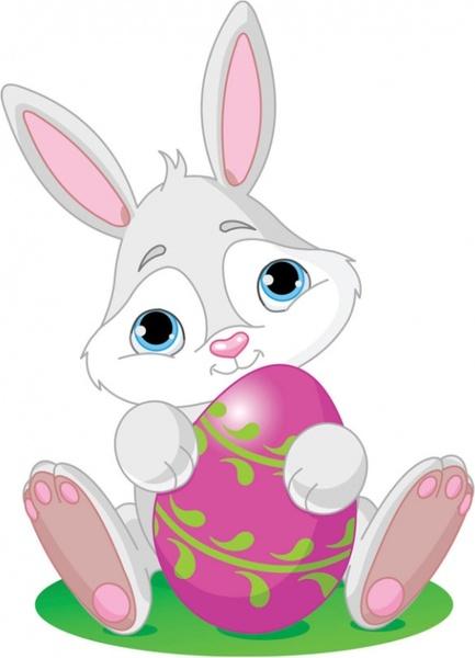 cartoon bunny and egg 04 vector