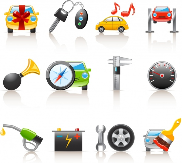car services icons colorful modern symbols sketch