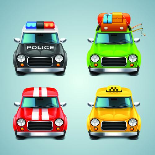 cartoon car cute vector graphics set