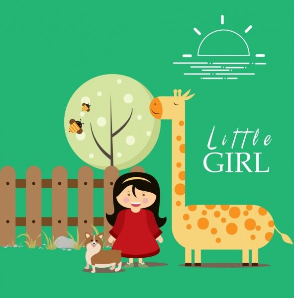 cartoon card background little girl animals icons decor
