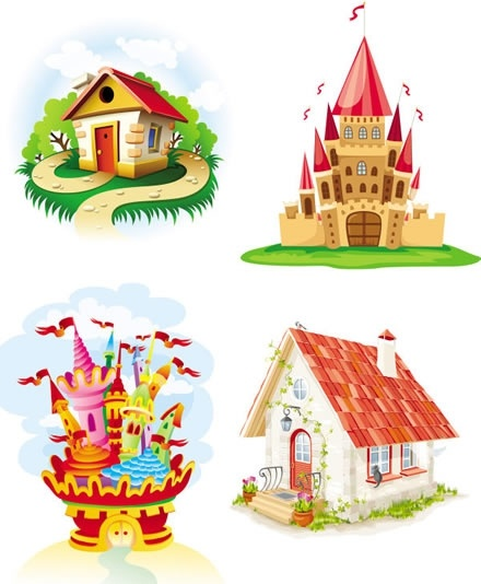 castles houses icons colorful cartoon sketch
