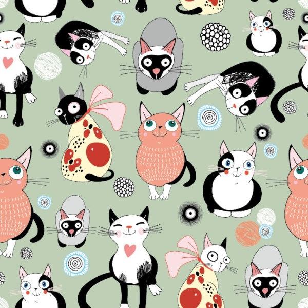 cartoon cat background 01 vector
