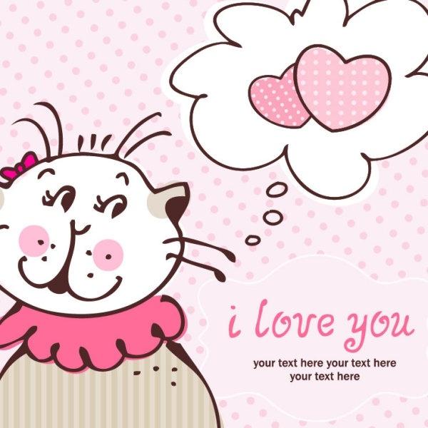 cartoon cat cards 06 vector
