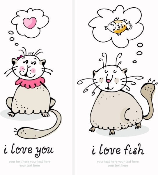 cartoon cat cards 07 vector