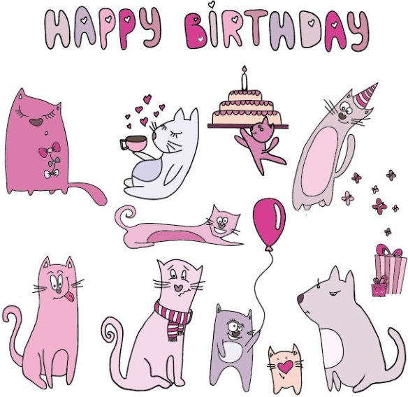 cartoon cat cards 08 vector