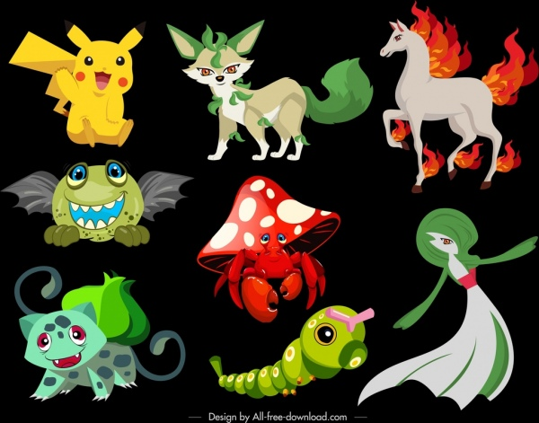 cartoon characters icons modern colorful legendary sketch