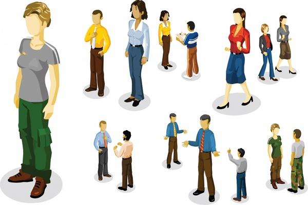 human lifestyle icons modern 3d cartoon sketch