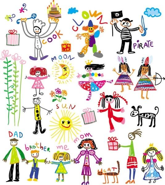 cartoon children39s illustrator 02 vector