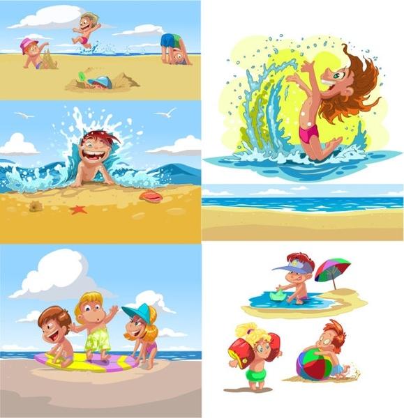 cartoon children summer beach vector