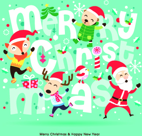 cartoon christmas and new year background vector
