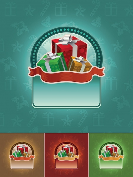 christmas sales banner templates colorful gifts ribbon decor