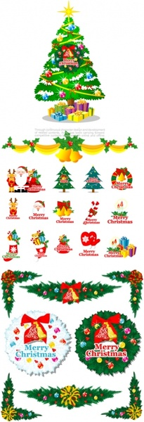 cartoon christmas element vector