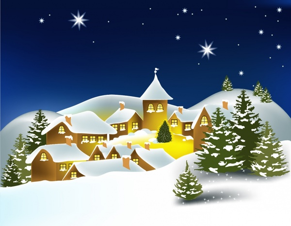 Cartoon Christmas House Christmas Tree Background Vector