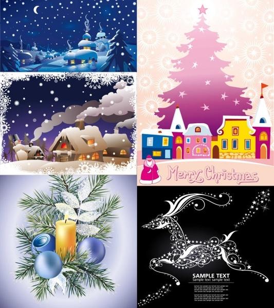 cartoon christmas ornaments background vector