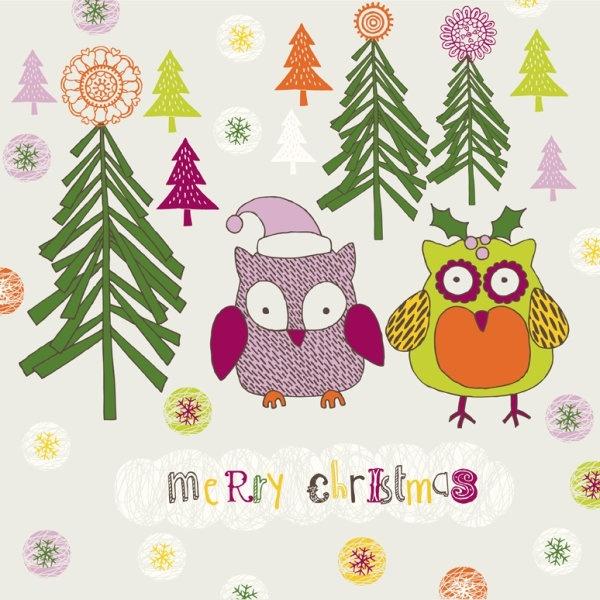 cartoon christmas owl pattern 02 vector