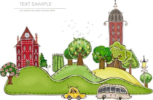 cartoon city building elements vector 1