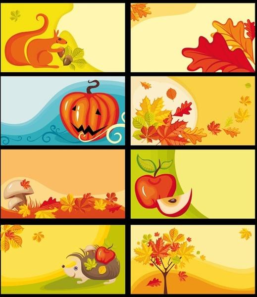 cartoon clip art decorative elements fall