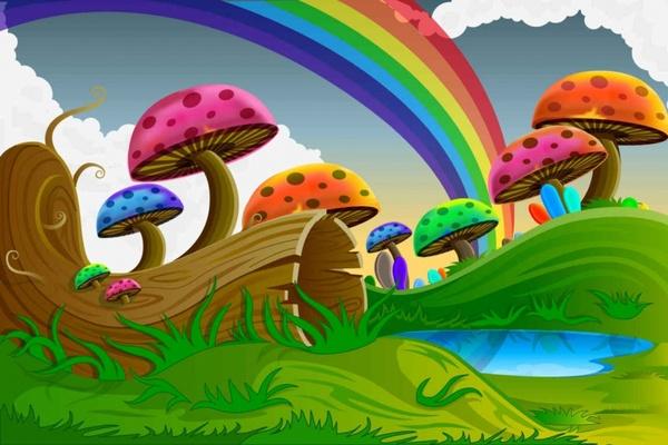 Cartoon colorful mushrooms Vector Background Free vector ...