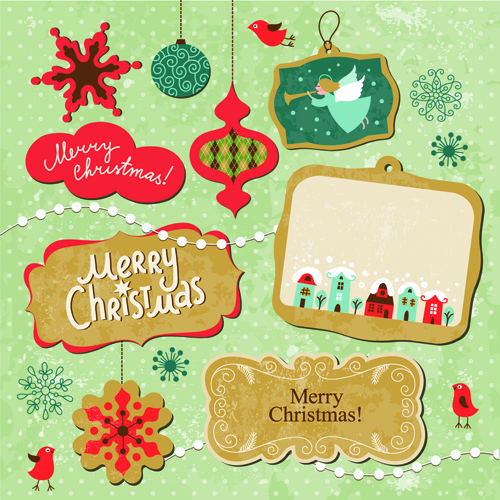 cartoon cute christmas labels vintage style vector