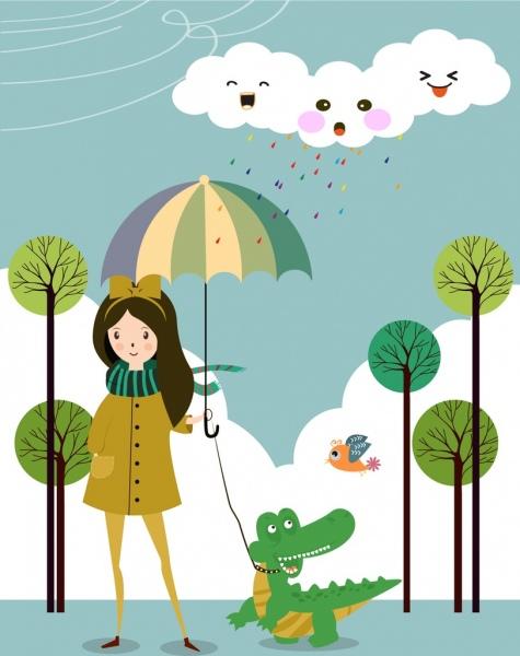 cartoon dream background stylized cloud crocodile girl icons