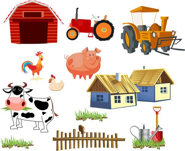 cartoon farming tool and elements