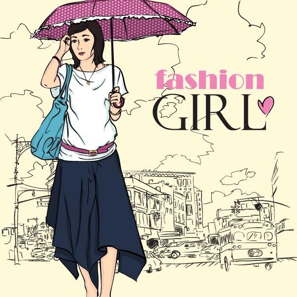cartoon fashion beauty 05 vector