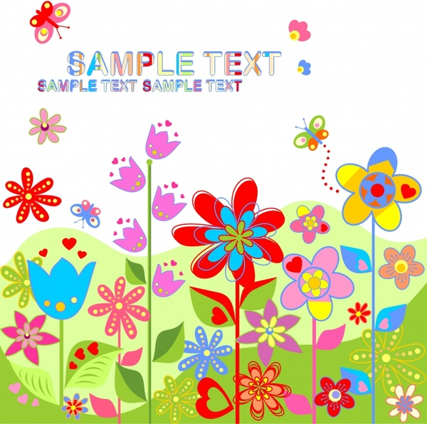 spring background colorful flowers butterflies decor flat design