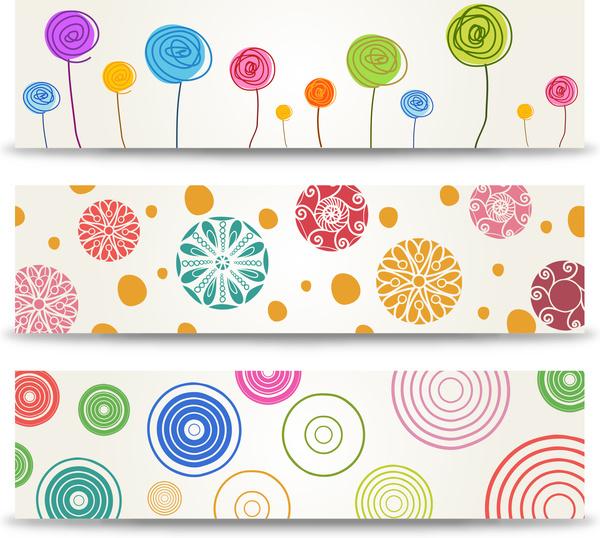 cartoon flower banner set