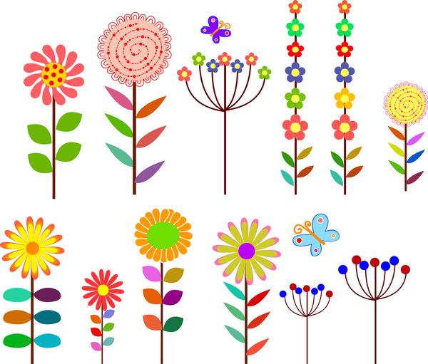 Cartoon flowers design element Free vector in Adobe