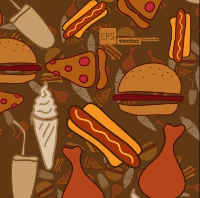 cartoon food pattern design vector