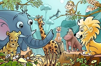 cartoon forest animals psd layered