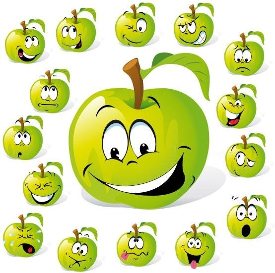 cartoon fruit expression 01 vector