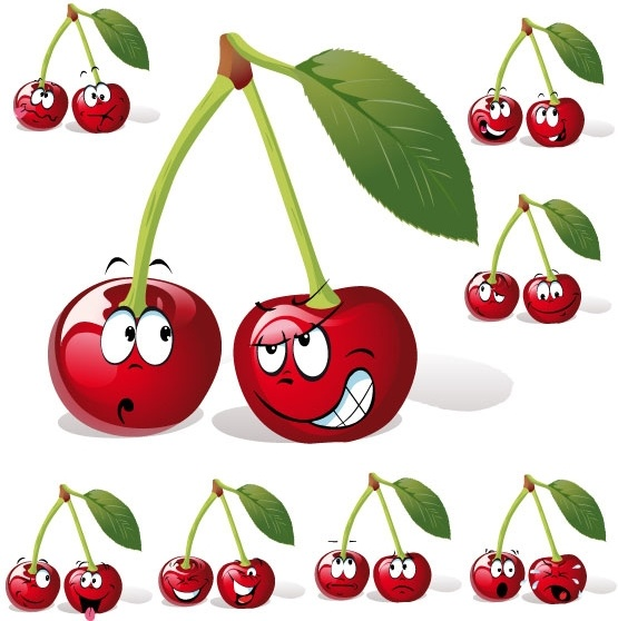 cartoon fruit expression 05 vector
