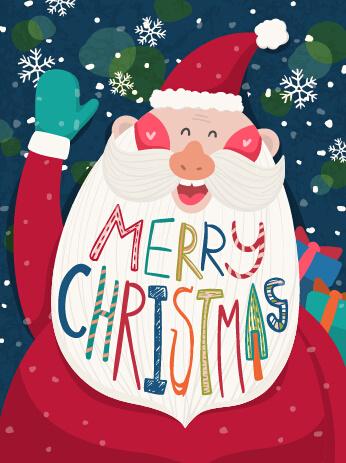 cartoon funny santa claus with christmas elements vector
