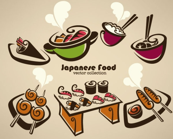 cartoon handpainted food 01 vector
