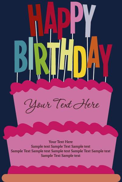cartoon happy birthday postcard vector
