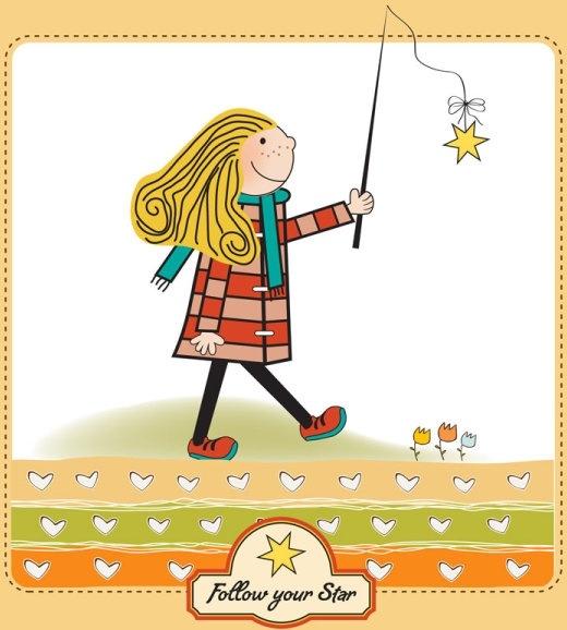 cartoon illustrations of children 01 vector