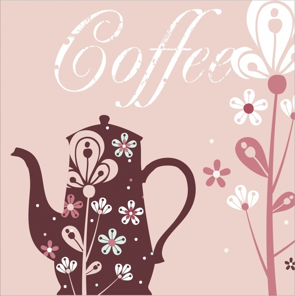 coffee background pot flower icons sketch classical design