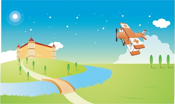 landscape background building canal airplane icons classical design