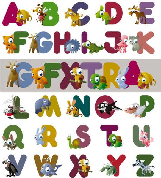 cartoon letters vector